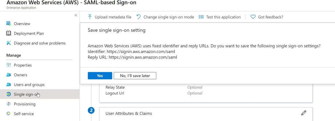 2020-02-04 21_01_05-Amazon Web Services (AWS) - Single sign-on - Azure Active Directory admin center