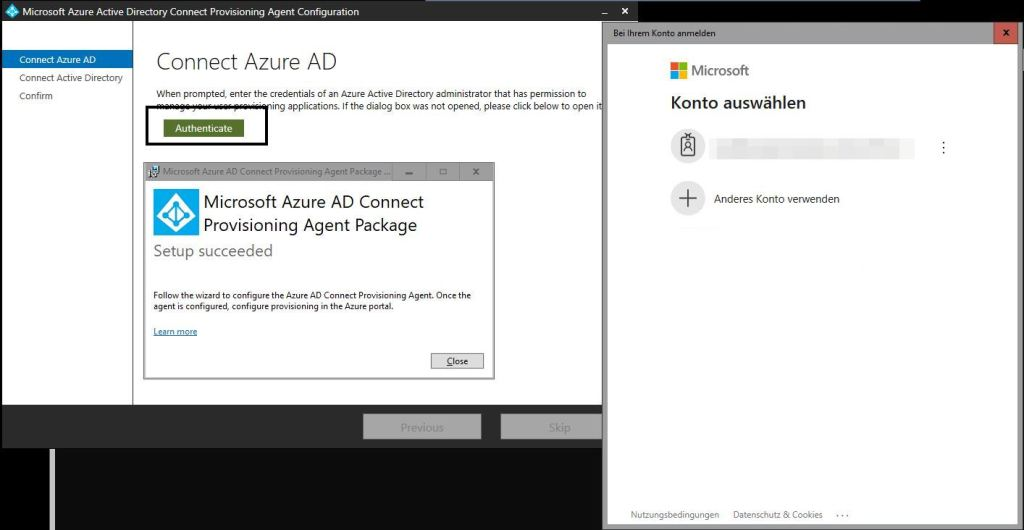 Authentification Azure AD Connect Provisioning