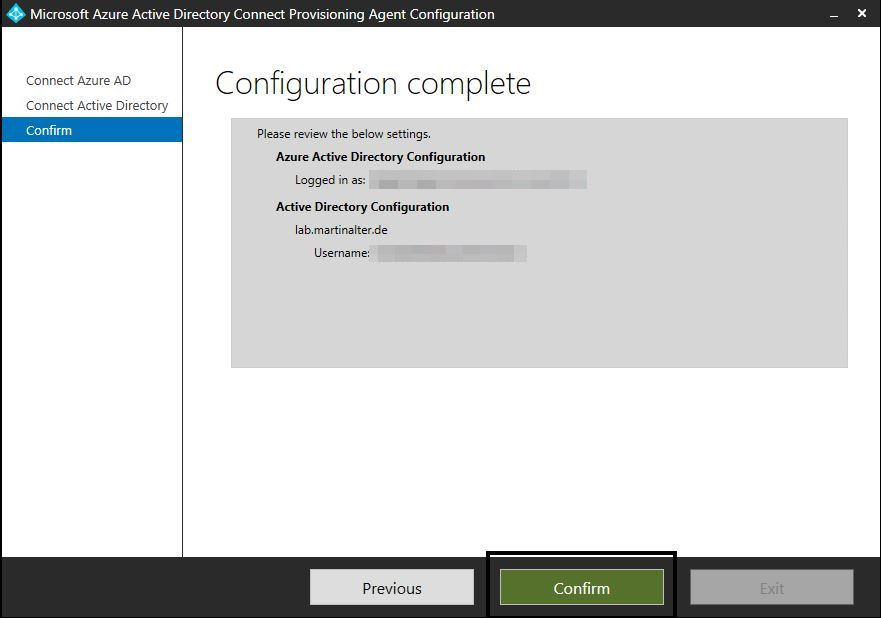 Configuration confirm Azure AD Connect Provisioning