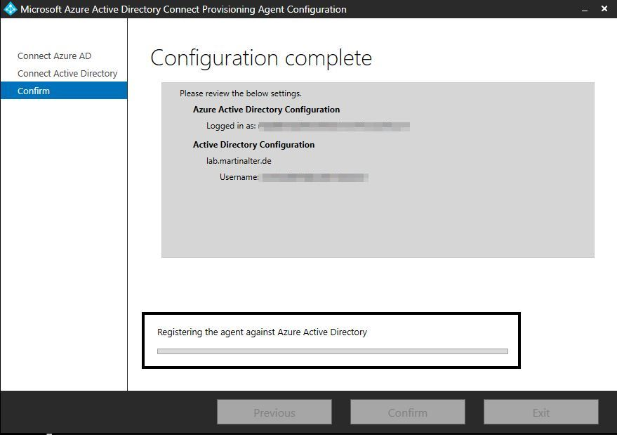 configuration in process Azure AD Connect Provisioning