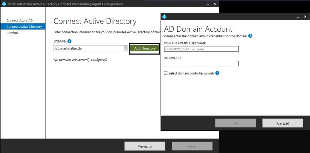 Connect AD forest Azure AD Connect Provisioning