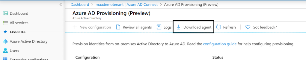 Download Azure AD Connect Provisioning Agent