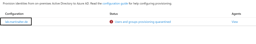 Configuration Azure AD Connect Provisioning