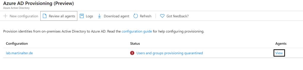 Status Agent Azure AD Connect Provisioning