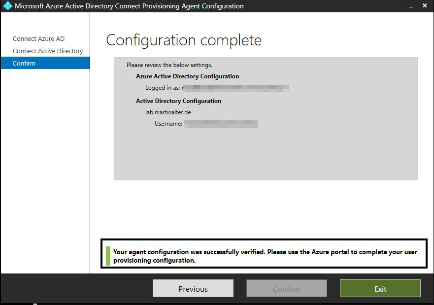 configuration complete Azure AD Connect Provisioning