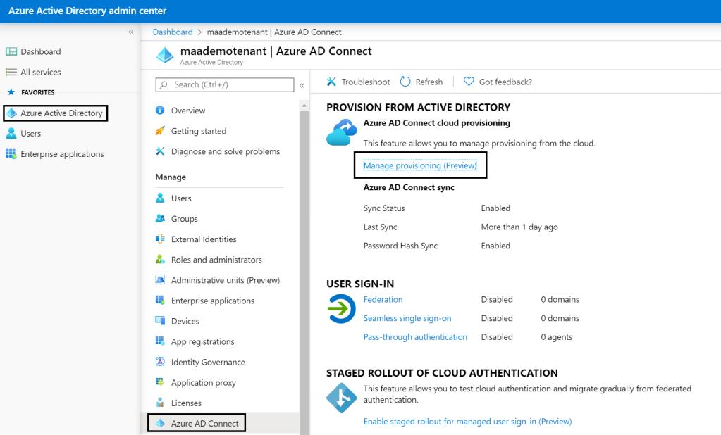 Azure AD Portal Azure AD Connect